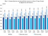 Наети лица и средна брутна заплата в област Стара Загора през IV-то тримесечие на 2020 г.
